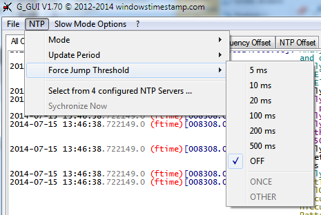 NTP force jump threshold selection submenu