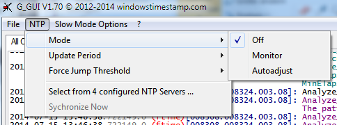 NTP mode selection submenu