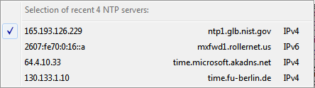 NTP server selection popup menu